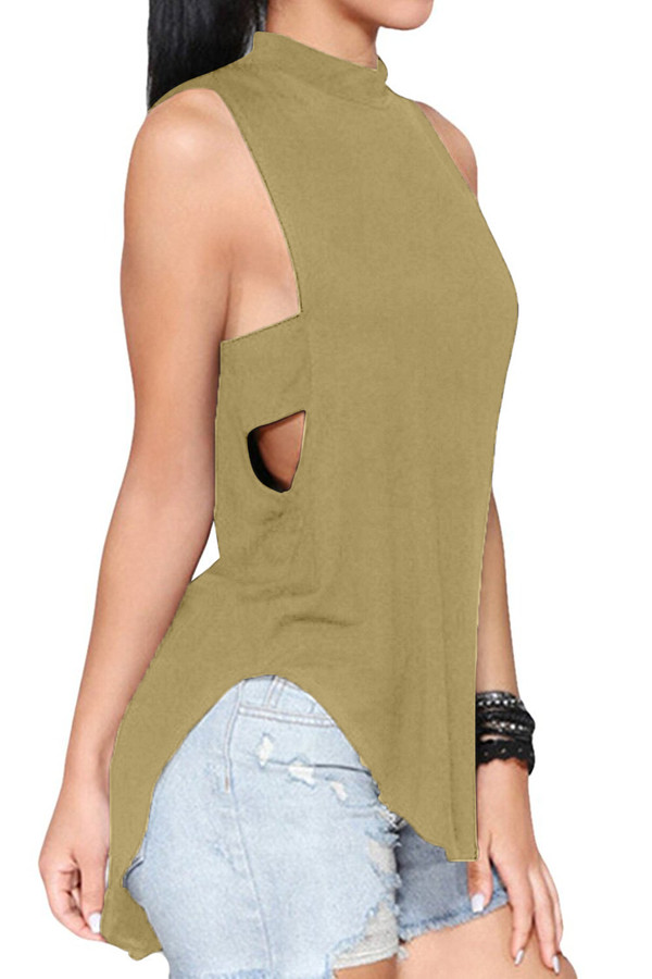 Sleeveless High Neck Hollow Out Backless Tank