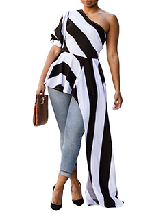Flounce One Shoulder Striped Asymmetrical Shirt(3-4 Days Delivery)