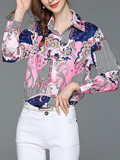 Long Sleeve Turndown Collar Floral Fitted T-shirt