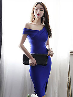 Sexy Sloping Shoulder Solid Bodycon Slit Dresses