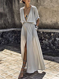Deep V Neck Slit Maxi Dresses