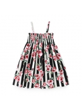 Striped Printing Elastic Waist Straps Dress(3-4 Days Delivery)
