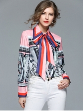 Catwalk Easy Matching Contrast Color Printing Blouses