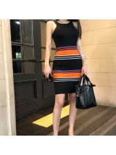 Hollow Out Striped Color Matching Sleeveless Knit Dress