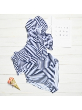 Flounce Cloak Striped Bodysuits One Shoulder Bikini