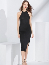 Bandage Knitted Fitted Backless Halter Long Dress