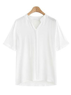New Arrival V-Neck Fitted Solid Blouse