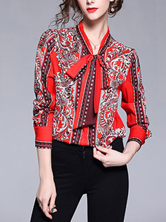 Royal Court Printed Fashion Lady Blouse