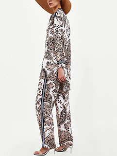 Holiday Printed Wide Leg Women Suit
