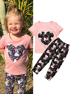 Fashion Heart Printed Casual Girls Suit