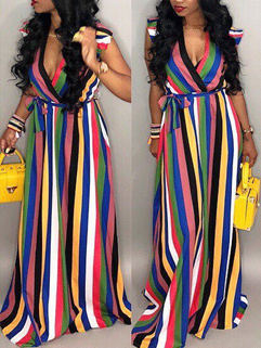 Colorful Striped Low Bust Long Dresses