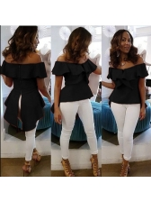 Euro Solid Boat Neck Ruffles Chic Blouse