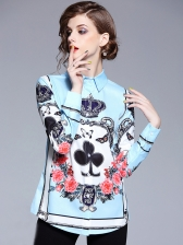 Royal Court Printed Stand Collar Blouse