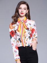 Hot Sale Color Block Long Sleeve Blouse