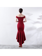 Korean V Neck Off Shoulder Fishtail Wedding Dress
