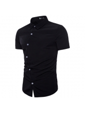 Fashion Oblique Single-breasted Solid Shit For Man