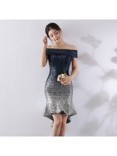 Off Shoulder Gradient Sequined Bodycon Dresses