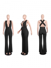 Euro Bandage Backless Solid Sexy Jumpsuit