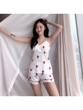 Sexy Straps Strawberry Printed Pajamas