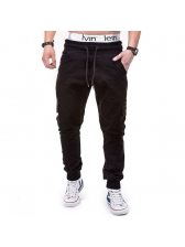Drawstring Solid Pocket Design Casual Long Pants