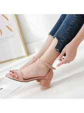 Korean Chunky Heel Simple Women Sandals