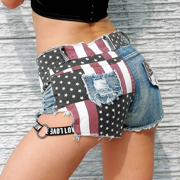 Hot Sale Stars and Stripes Worn Out Hot Pants