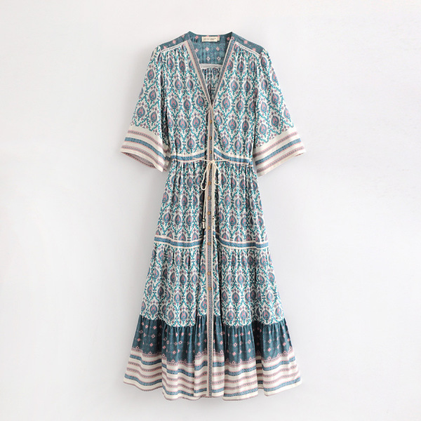 Ethnic Big Hem Printed Holiday Maxi Dress