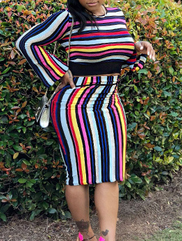 Euro Hot Sale Colorful Striped Two Pieces Sets