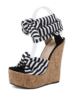 Euro Striped Lace Up Wedges Sandals