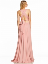 Sexy V Neck Backless Tie-wrap Solid Prom Dress