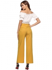New Arrival Solid Tie-Wrap Wide Leg Casual Pants
