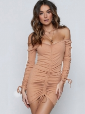 Sexy Solid Patchwork Long Sleeve Dress
