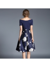 Euro Off Shoulder Floral A-line Dress