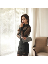 Backless Gauze Lace Patchwork Fitted Dress