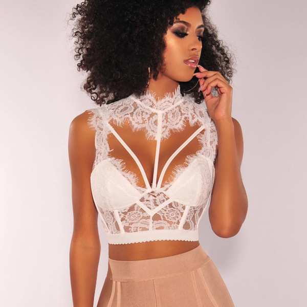Sexy Low-Cut Hollow Out Lace Cropped Top