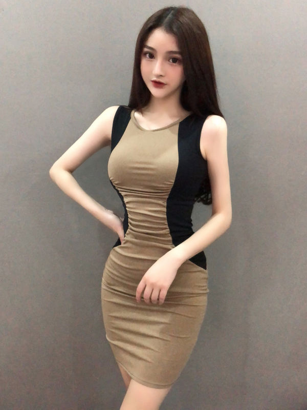 Sexy Contrasting Colors Sleeveless Bodycon Dress