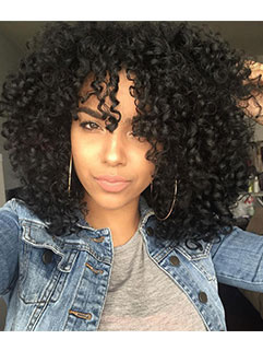 Short Fluffy Black Curly High Temperature Fiber Wig