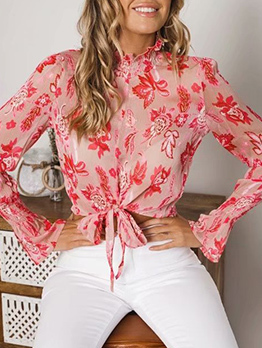 Fashion Printed Tie-Wrap Chiffon Blouse
