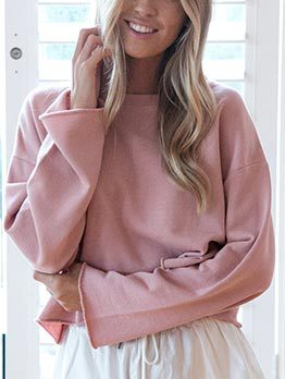 Fashion Solid Loose Casual Sweatshirt