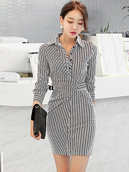 OL Style Striped Long Sleeve Dresses