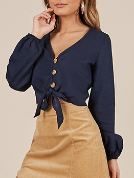 Fashion Binding Bow V Neck Blouses