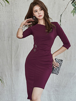 Autumn Solid Color Fitted Irregular Dresses
