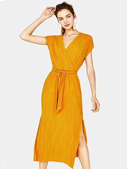 Summer V Neck Solid Tie-Wrap Short Sleeve Dresses