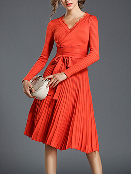 Fashion Ruched Binding Bow Wrap Dress