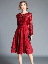 Elegant Lace Crew Neck Dresses