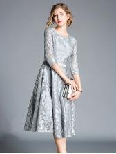 Autumn Hot Sale Embroidery Lace Dress