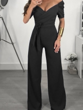 Sexy Solid Color Off Shoulder Jumpsuits