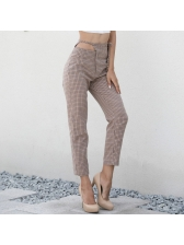 Chic Fitted Plaid Casual Pants