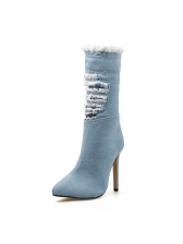 Euro Worn Out Denim Mid Calf Boots