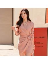 Korean Style Tie-Wrap Turndown Collar Female Dress